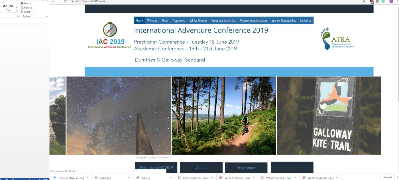 International Adventure Tourism Conference 2019 – Dr Jenny Hall